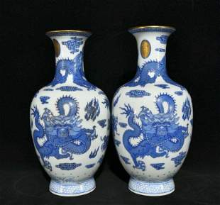chinese blue and white porcelain vase pair
