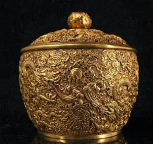 chinese gilt bronze jar pot