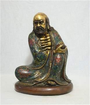 chinese bronze cloisonne enamel buddha statue