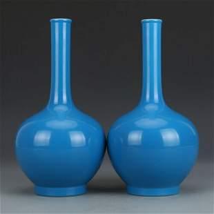 chinese blue glaze porcelain vase pair