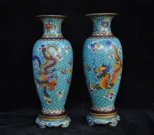 chinese bronze cloisonne vase pair