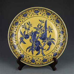chinese blue and yellow porcelain plate