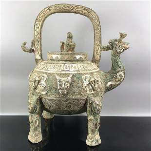 chinese bronze ware teapot