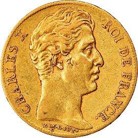 1825 Charles X 20 Frabcs Paris Gold Coin