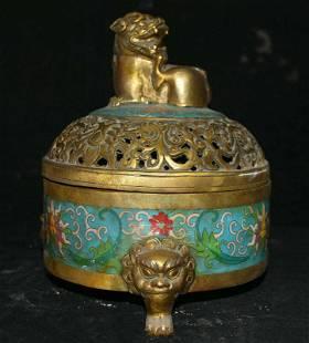 Chinese bronze cloisonne incense burner