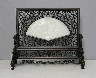Chinese rosewood and white jade screen