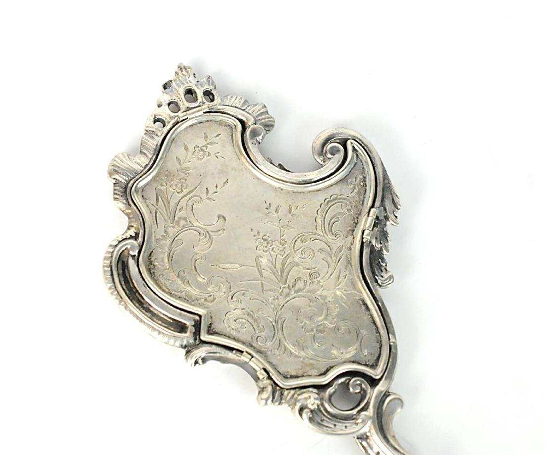 Sterling Silver French Antique Hand Mirror - 2