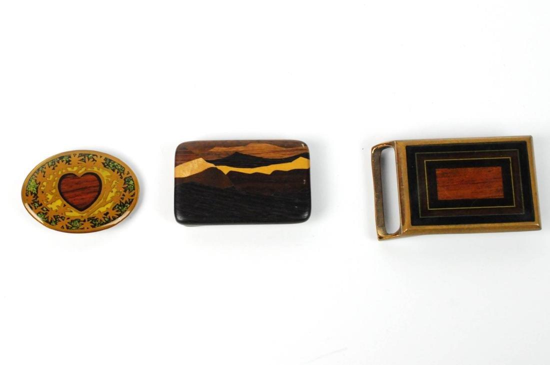 3 Brass & Wood Inlaind Belt Buckles