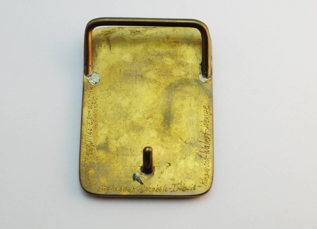 3 Brass & Wood Inlaind Belt Buckles - 2
