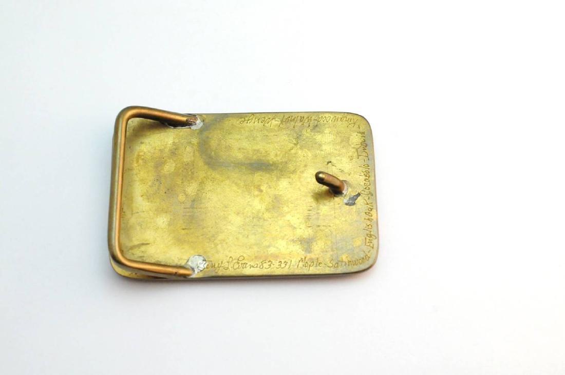 3 Brass & Wood Inlaind Belt Buckles - 3