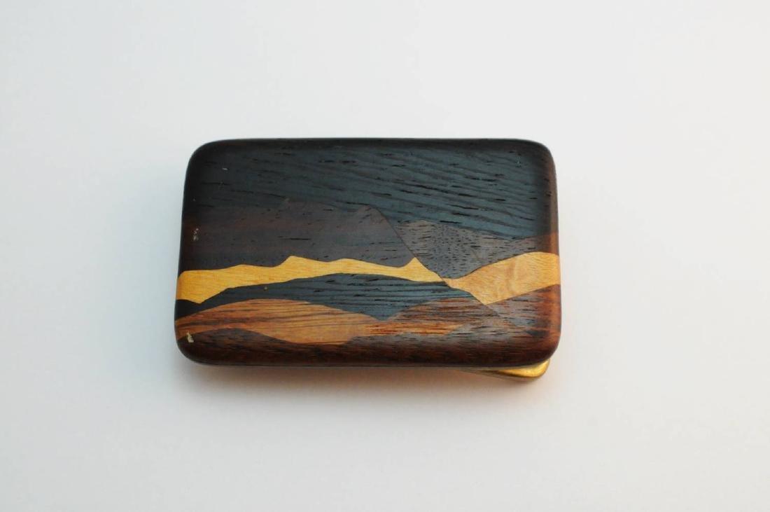 3 Brass & Wood Inlaind Belt Buckles - 4