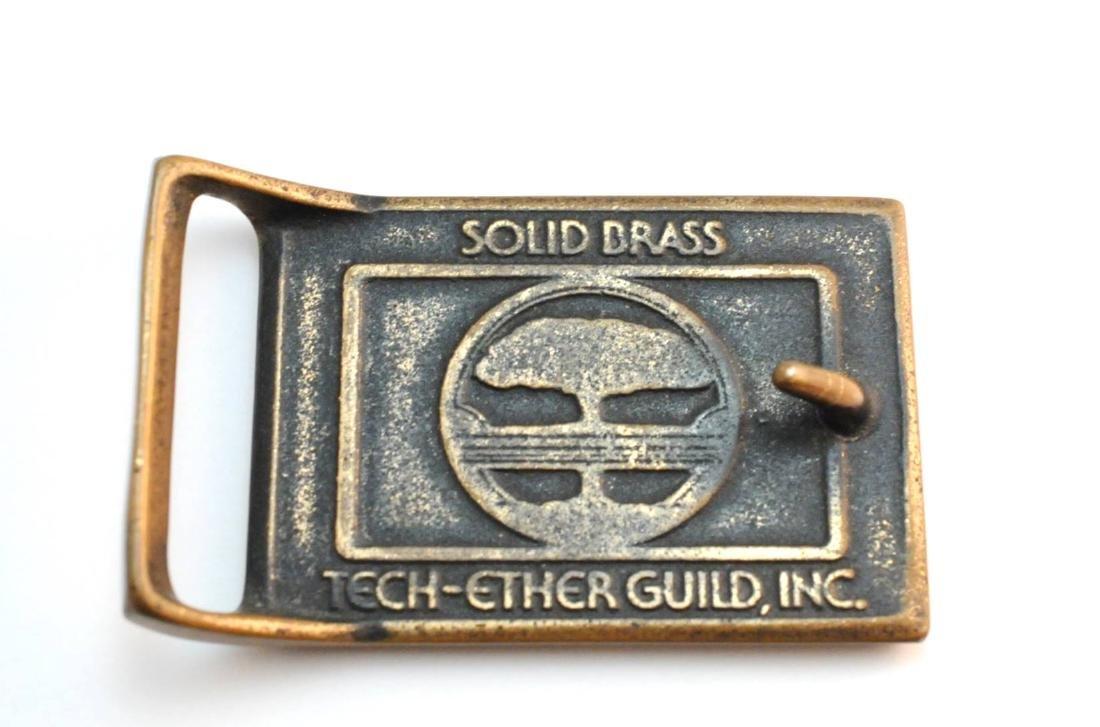 3 Brass & Wood Inlaind Belt Buckles - 5
