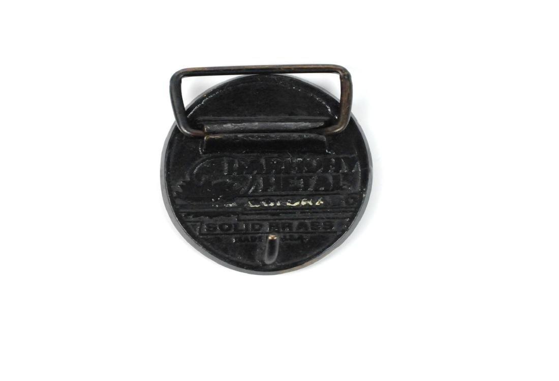 3 Brass & Wood Inlaind Belt Buckles - 6