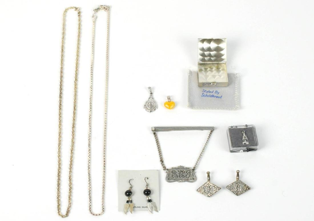 Sterling Silver LOT Chains, Pill Box, Earrings