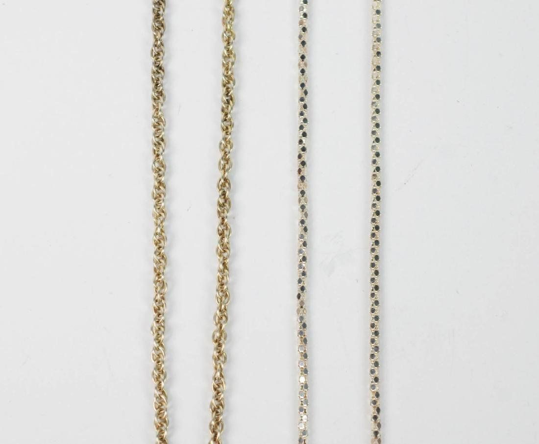 Sterling Silver LOT Chains, Pill Box, Earrings - 3