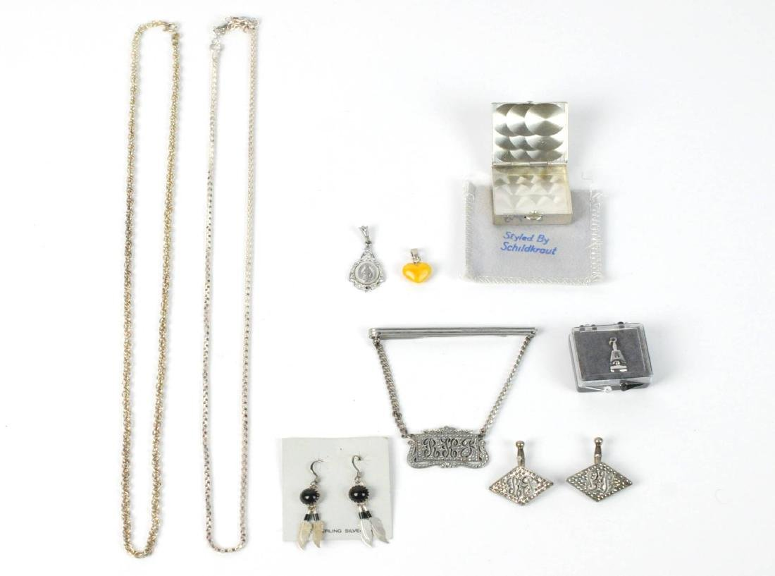 Sterling Silver LOT Chains, Pill Box, Earrings - 8