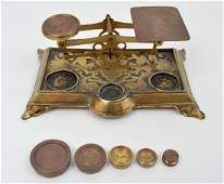 Antique Brass Scale England with Weights