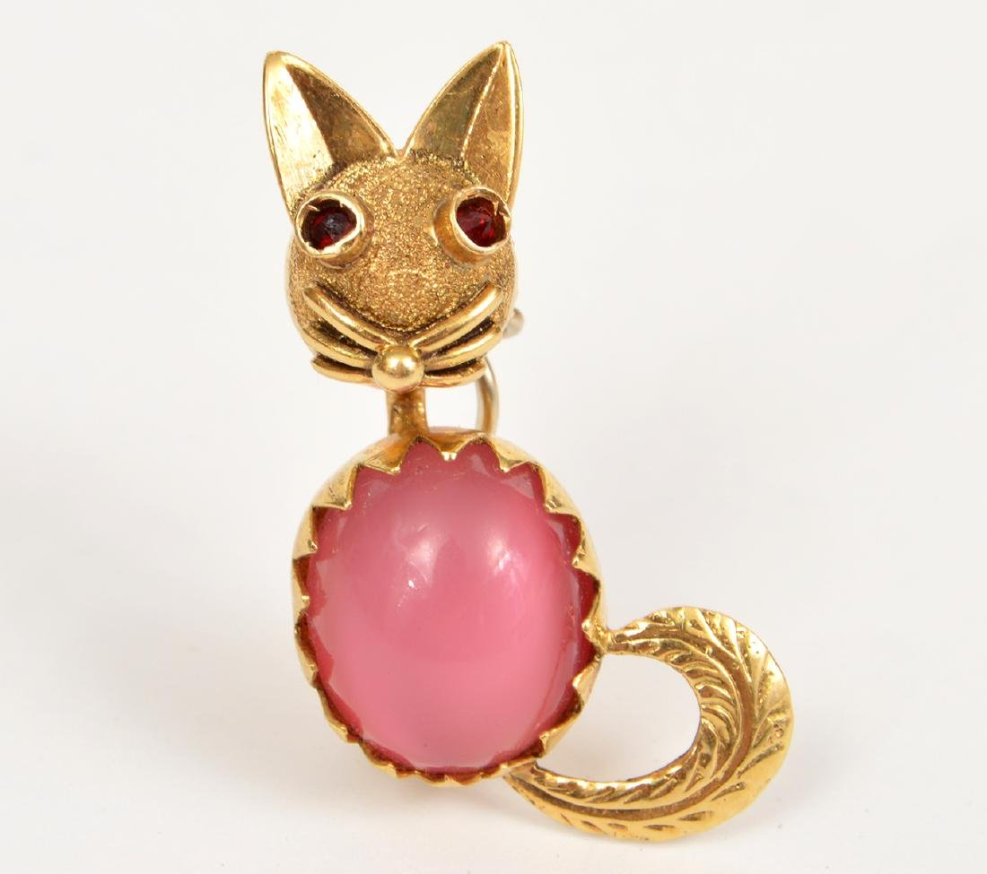 Vintage 14k Yellow Gold Cat Pin PInk Stone