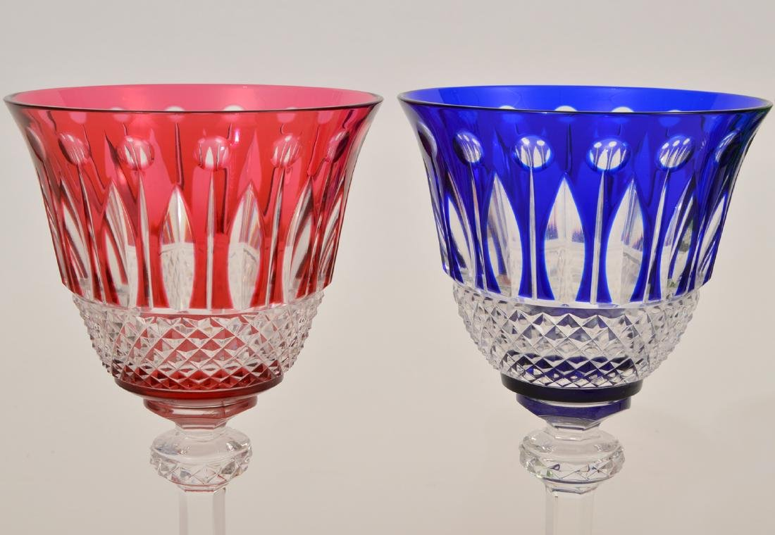 5 Crystal Saint Louis Colorful Wine Glasses - 3