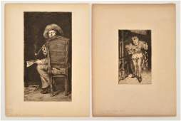 2 William Merritt Chase Artist Etchings