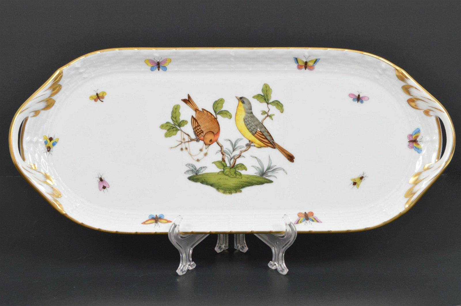 """Herend 14"""" Sandwich Tray Rothschild Bird"""