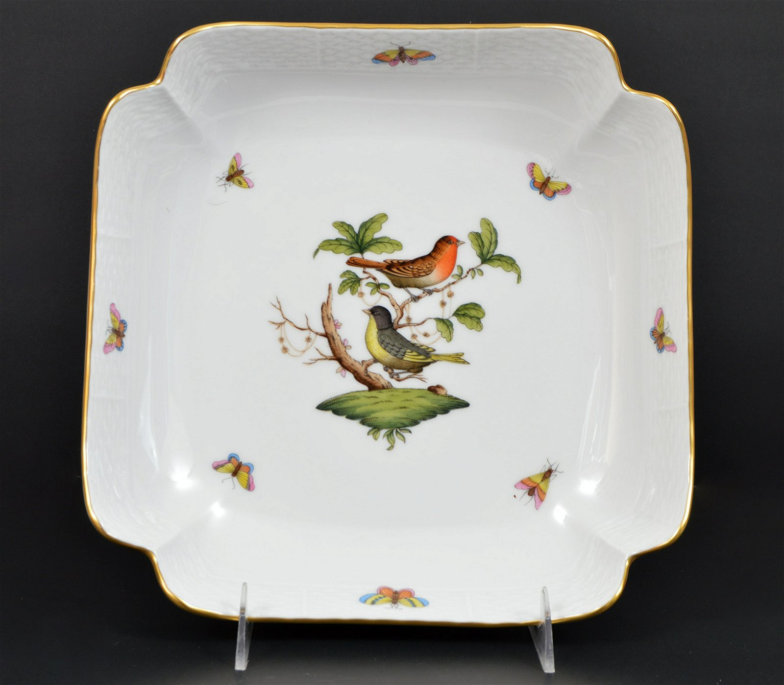 "Herend 10"" Square Salad Bowl Rothschild Bird"