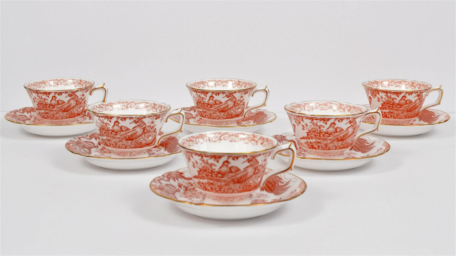 6 Royal Crown Derby Cup & Saucer Sets Red Aves