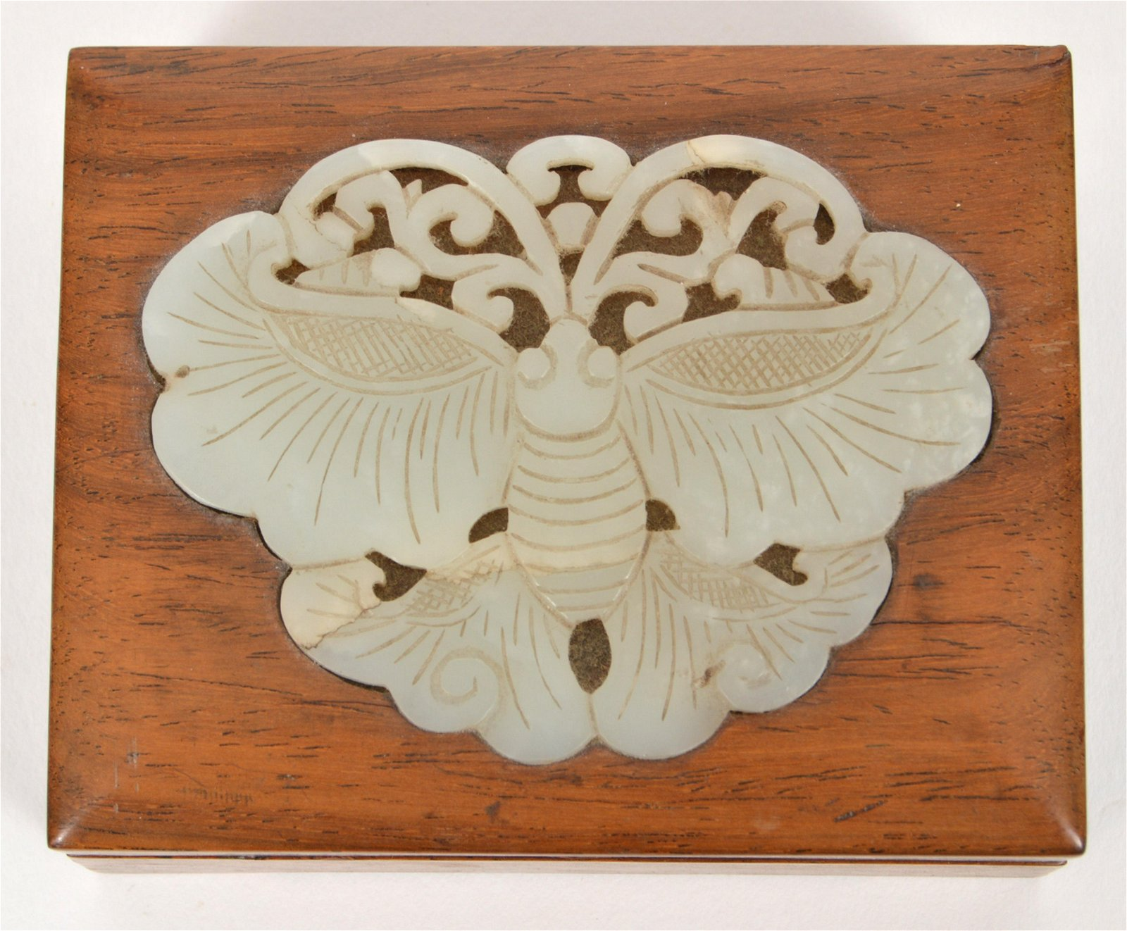 Chinese Wood Box with Jade Carved Butterfly