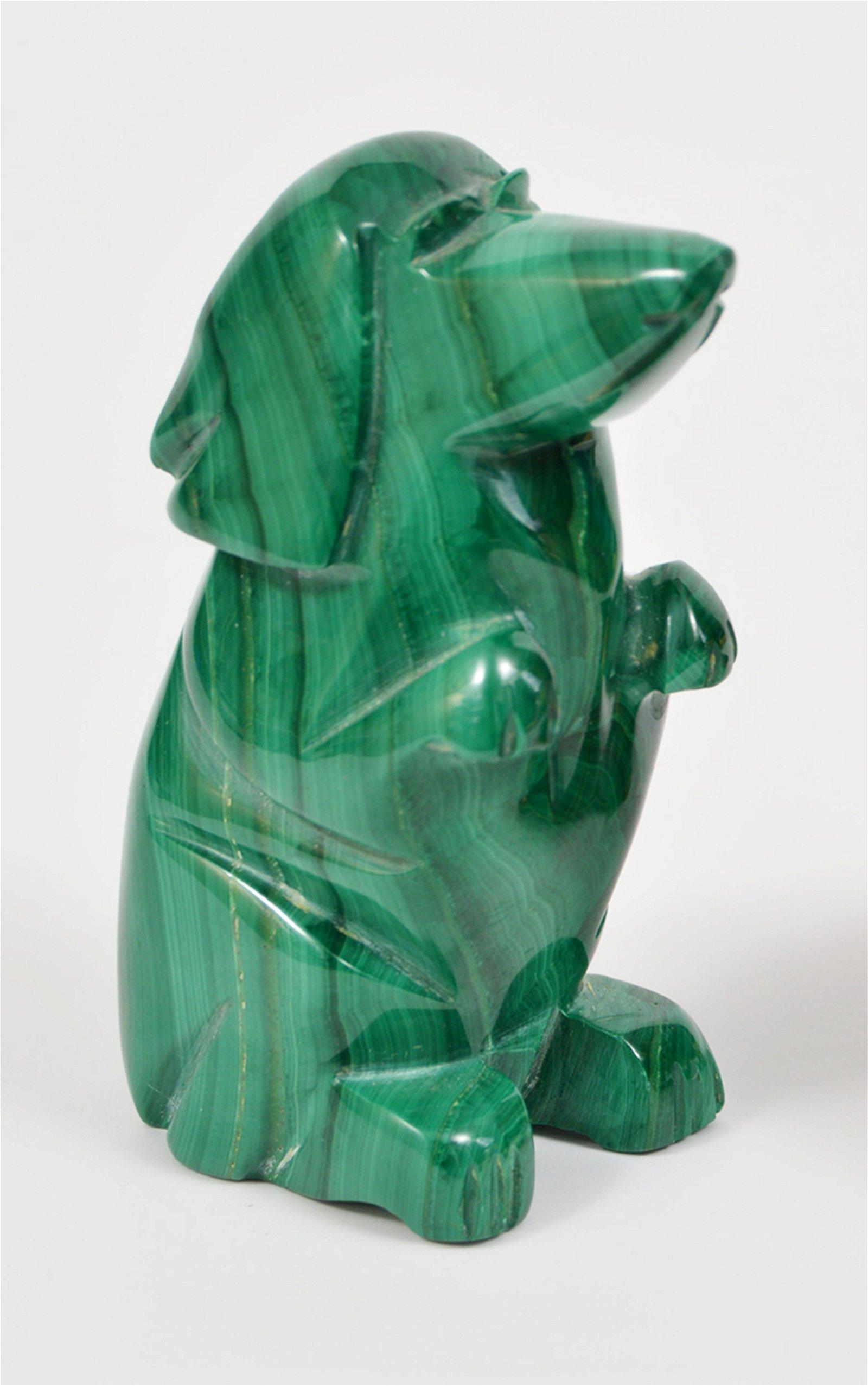 Malachite Craved Dog Figurine