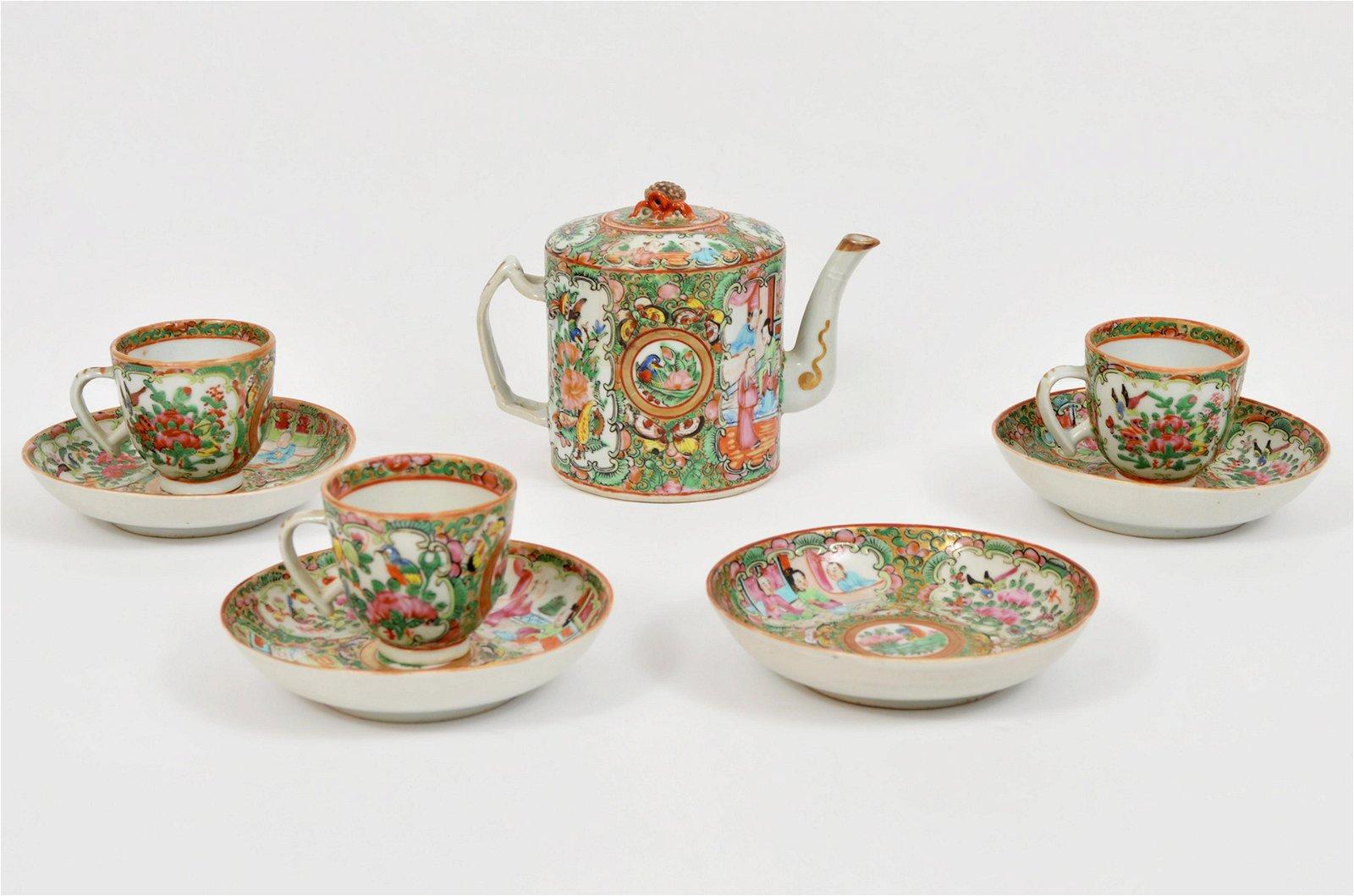 Chinese Famille Rose Medallion Tea Set