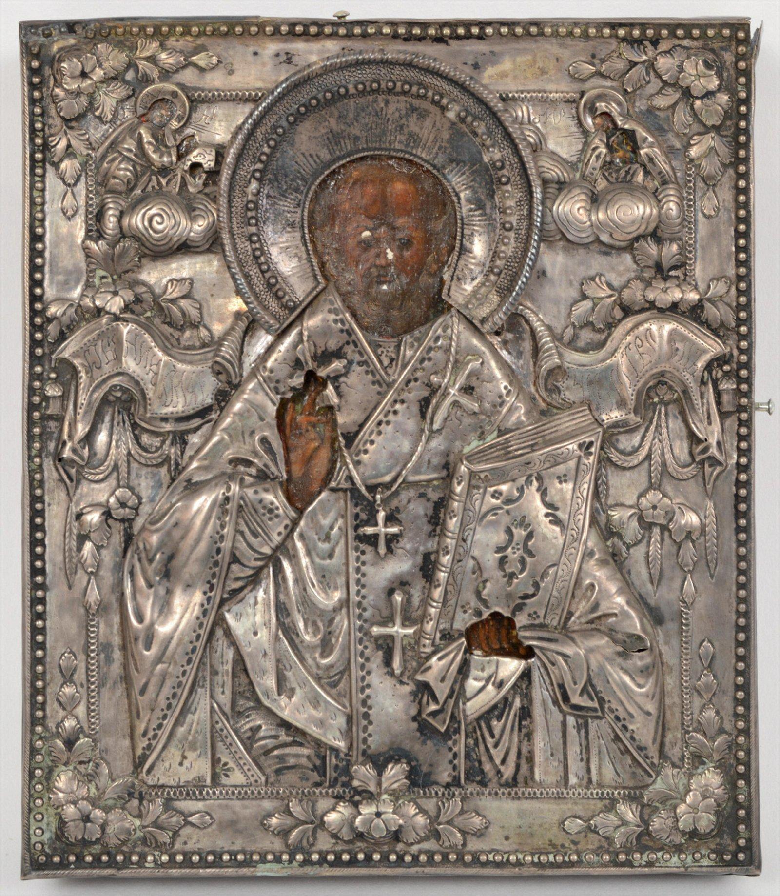 1796 Saint Nicholas Russian Icon Silver Repousse
