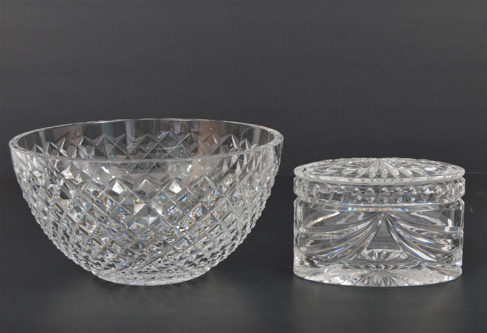 Waterford Crystal Bowl & Oval Lidded Box