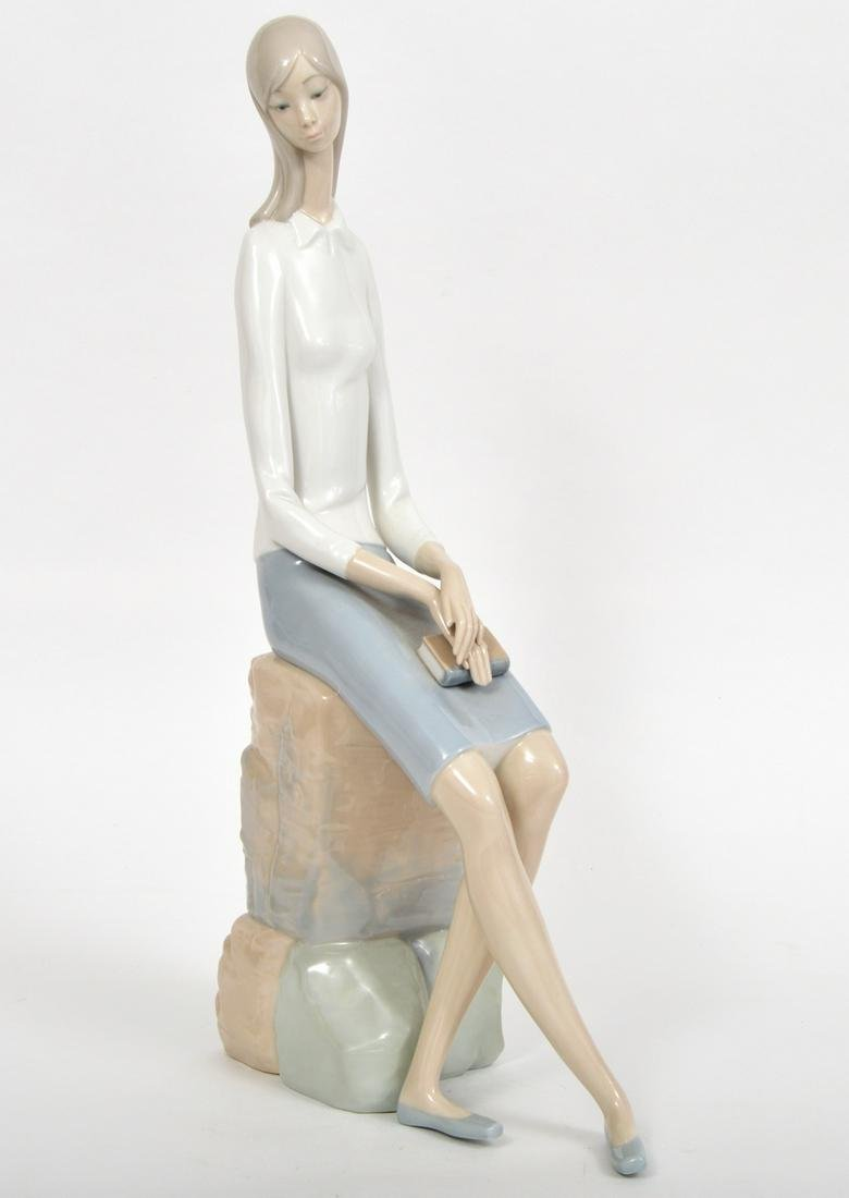 Lladro Large Figurine Girl with Book on Rock