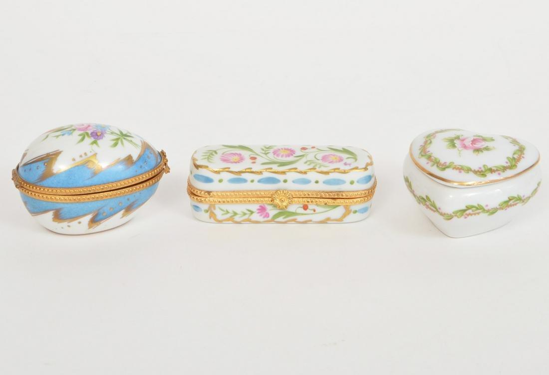 3 Limoges Porcelain trinket Boxes