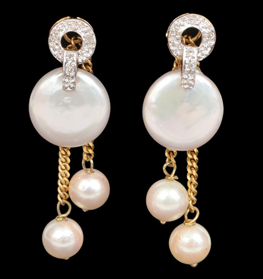 14k Yellow Gold Pearl Earring & Dangle Jackets