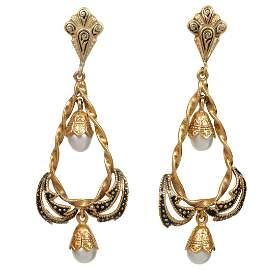 Pr 14k Yellow Gold Enameled Pearl Earrings