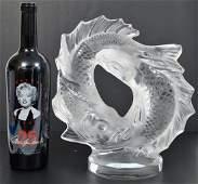 Lalique Crystal Deux Poissons Fish Sculpture