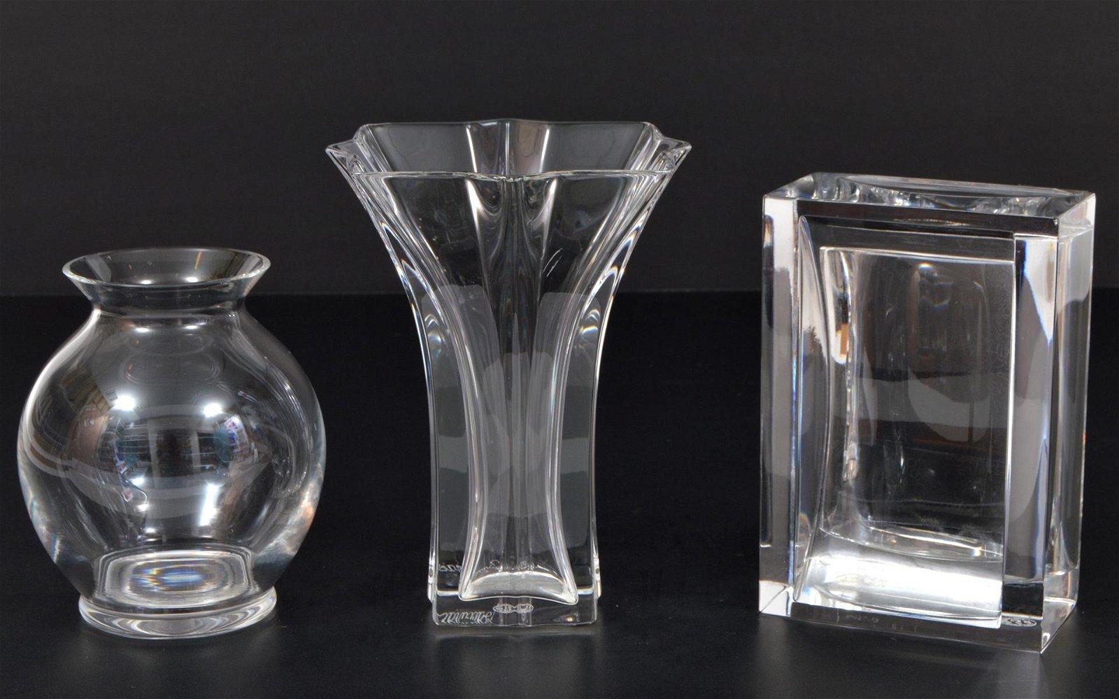 3 Pcs. Baccarat Crystal Vases & Cigarette Holder