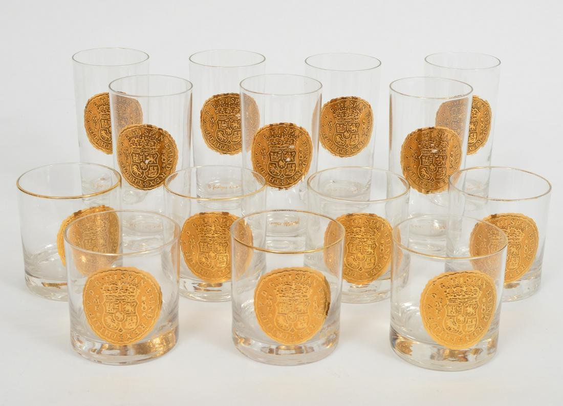 14 Rare Georges Briard Gold Doubloon Glasses
