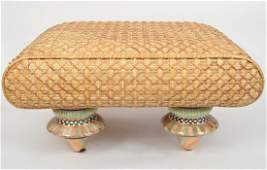 MacKenzie Childs Wicker Ottoman Porcelain Legs