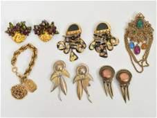 Lot Vintage Gold Tone Earrings Brooch Bracelet