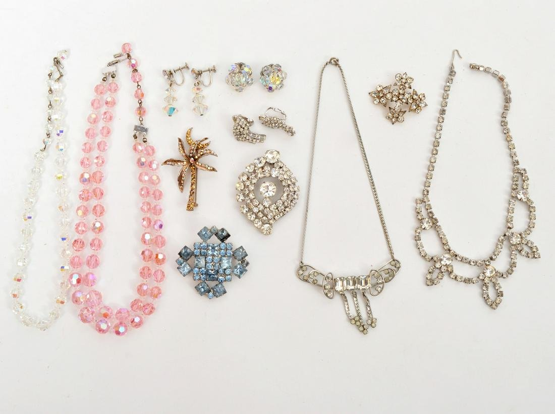 Lot Crystal Costume Necklaces Brooches Earrings