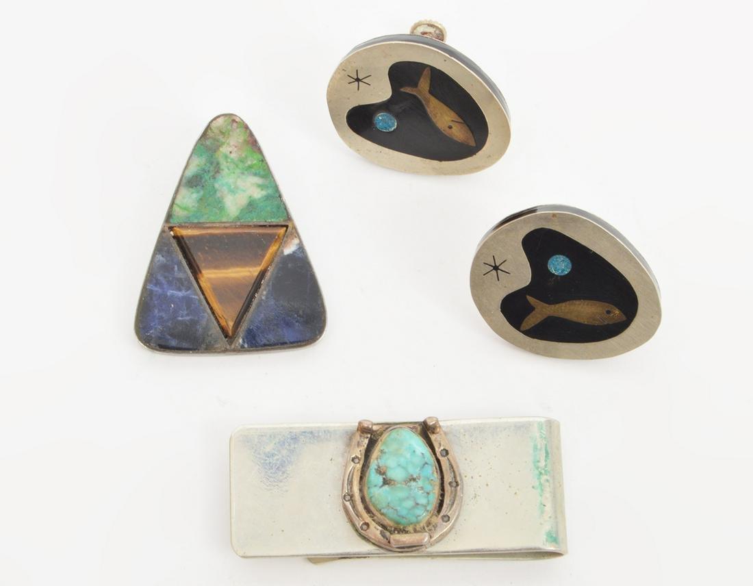 Mexican Sterling Earrings Brooch Money Clip