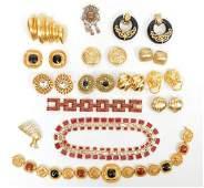 15 Pcs. Vintage Gold Tone & Enamel Jewelry