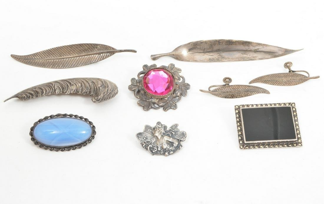 Lot of Sterling Vintage Brooches and Earrings