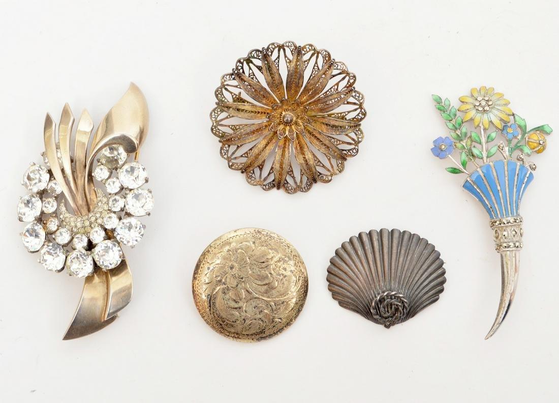 5 Vintage Sterling Silver Brooches Crystal Enamel