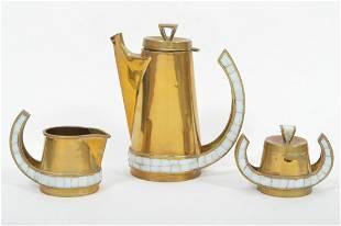 Salvador Vara Teran Brass & Mosaic Coffee Set