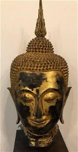 Gilded Bronze Flame Ushnisha Sukothai Head