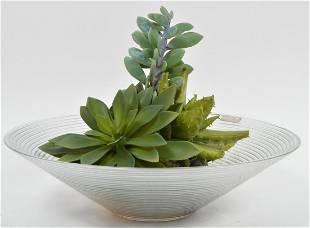 Emilio Robba Plant Ribbed Crystal Bowl