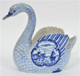 Blue Delft Porcelain Swan Planter
